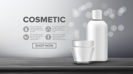 Cosmetic Bottle Banner Vector. Luxury Light. Abstract Label. Lotion, Gel. Premium Product. 3D Mockup Realistic Illustration