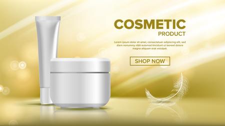 Kosmetische Flasche Vorlage Vektor. Schönheit Hintergrund. Glas leer. Marketing-Anzeigen. Gesichtspflege. 3D-Modell realistische Illustration