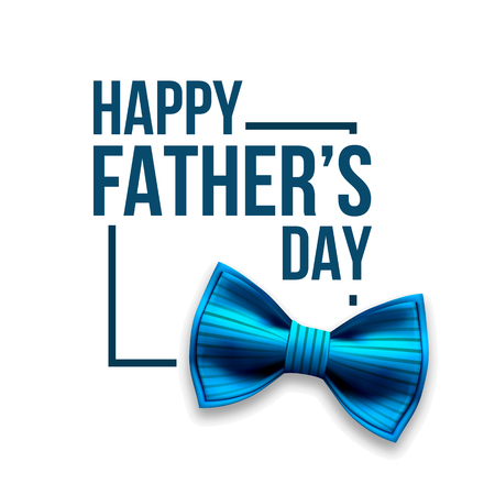 Happy Father s Day Vector. Banner Design. Satin Bow Tie. Realistic Illustration