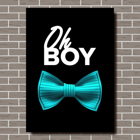 Bow Tie Poster Vector. Oh, Boy. A4 Size. Brick Wall. Elegance Formal Suit. Vertical Illustration