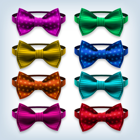 Bow Tie Set Vector. Hipster, Gentleman. Realistic Knot Silk Bow. Elegance Formal Suit Bowtie. Fashion Cloth, Classic Satin Butterfly. Clothing Illustration