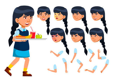 Asian Girl, Child, Kid, Teen Vector. Modern Uniform. Educational, Study. Face Emotions, Various Gestures. Animation Creation Set Isolated Cartoon Character Illustration