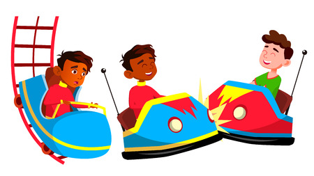 Indian Boy Set Vector. Amusement Park. Primary School Child. Drive, Speed. Positive Person. Casual Clothes. For Banner, Flyer, Brochure Design Isolated Illustration