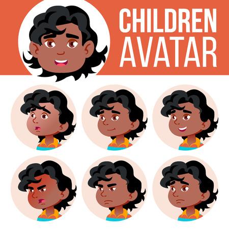 Noir, Afro American Boy Avatar Set Kid Vector. Jardin d'enfants. Faire face aux émotions. Portrait, Utilisateur, Enfant. Illustration de tête de conception colorée junior, préscolaire Kiddy