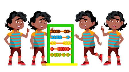 Black, Afro American Boy Kindergarten Kid Poses Set Vector. Little Children. Happiness Enjoyment. For Web, Brochure, Poster Design. Cartoon Illustration Иллюстрация