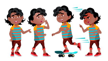 Black, Afro American Boy Kindergarten Kid Poses Set Vector. Kiddy, Child Expression. Junior. For Postcard, Cover, Placard Design. Cartoon Illustration