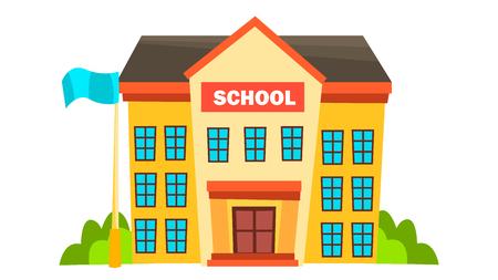 School Building Vector. Modern City University. Fasade Exterior. Brick. Isolated Cartoon Illustration