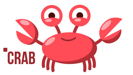Funny Crab Vector. Icon. Shelf Red Crab. Water Sea Animal. Isolated Flat Cartoon Illustration
