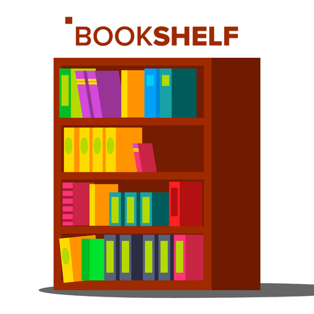 Bookshelf Vector. Home Library Or Book Store. Bookcase Full Of Different Color Books. Isolated Cartoon Illustration