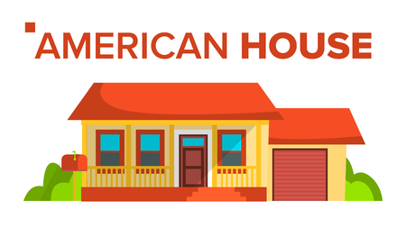 American House Building Vector. modern Urban City Villa With Terrace And Garage. Exterior Classic Townhouse. Isolated Flat Cartoon Illustration Çizim