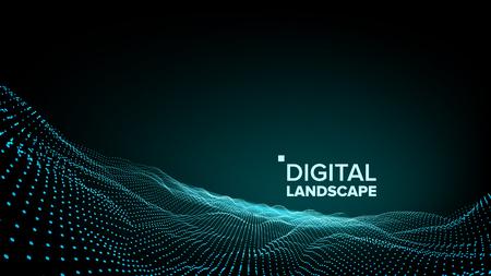 Vecteur de paysage numérique. Technologie des données. Montagne de la vague. Surface technique. Dot Land. Données géométriques. Illustration 3D