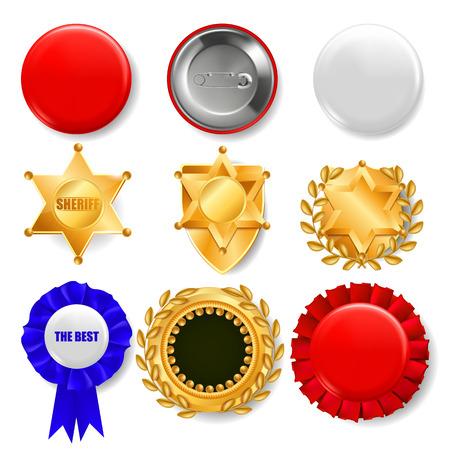 Badge Set Vector. Plastic And Golden Empty Button. Sale Symbol. Best Quality Product Emblem. Hexagonal. Sheriff, Pin Brooch, Retro, Vintage, Police, Sale Premium Badge Illustration Illustration