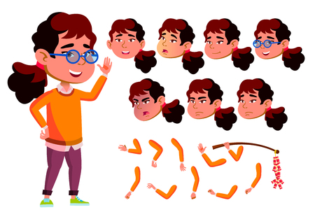 Asian Girl Child Vector. Face Emotions, Various Gestures. Animation Set. Isolated Cartoon Illustration