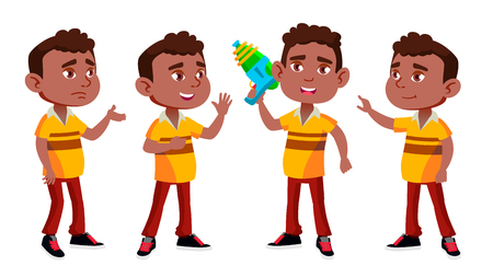 Black, Afro American Boy Kindergarten Kid Poses Set Vector. Preschool. Young Person. Cheerful. Water Gun. For Web, Brochure, Poster Design. Isolated Illustration