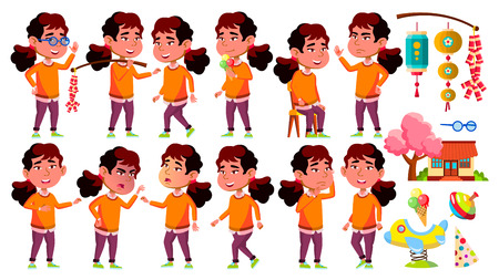 Asian Girl Kindergarten Kid Poses Set Vector. Little Child. Funny Toy. Lifestyle. For Advertising, Placard, Print Design. Isolated Cartoon Illustration
