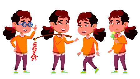 Asian Girl Kindergarten Kid Poses Set Vector. Preschool, Childhood. Friend. For Postcard, Cover, Placard Design. Isolated Cartoon Illustration