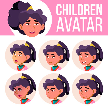 Asian Girl Avatar Set Kid Vector. Primary School. Face Emotions. Flat, Portrait. Youth, Caucasian. Colorful Design Head Illustration Illusztráció