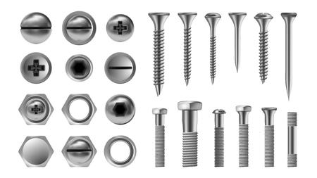 금속 나사 세트 벡터입니다. 스테인리스 볼트. 하드웨어 수리 도구. 머리 아이콘입니다. 못, 리벳, 견과류 사실적인 삽화