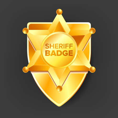 Sheriff Badge Vector. Golden Star. Sevurity Emblem. Retro Object. 3D Realistic Illustration
