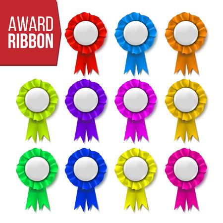 Award Ribbon Set Vector. Winner Badge. Ceremony Design. Poster, Card, Flyer. Champion Medal. Honor Icon. Retro Element. Success Emblem. Promotion Brochure Pesentation Win3D Realistic Illustration