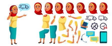 Arabo, musulmano Teen Girl vettore. Set di creazione di animazioni. Emozioni del viso, gesti. Assistente in linea, consulente. Casuale. Animato. Per la presentazione, la stampa, il design dell'invito. Illustrazione del fumetto isolato
