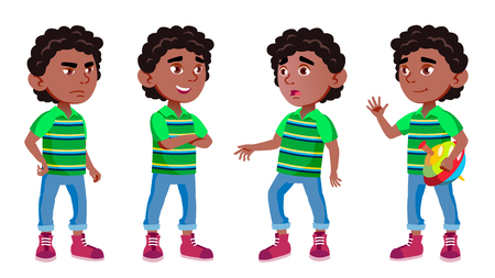 Black, Afro American Boy Kindergarten Kid Poses Set Vector. Preschool, Childhood. Friend. For Cover, Placard Design. Isolated Illustration
