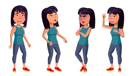 Asian Girl Kid Poses Set Vector. High School Child. Cute, Comic. For Card, Advertisement, Greeting Design. Cartoon Illustration