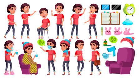 Asian Girl Kid Poses Set Vector. School Child. Sick, Cough. Runy Nose. Health. For Presentation, Print, Invitation Design Cartoon Illustration