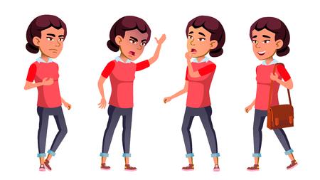 Vector conjunto de poses de chica asiática. Niño de secundaria. Emociones Estudiante. Para web, póster, diseño de folletos. Ilustración de dibujos animados