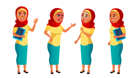 Arab, Muslim Teen Girl Poses Set Vector. Pretty, Youth. For Postcard, Announcement, Cover Design. Isolated Cartoon Illustration  イラスト・ベクター素材