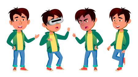 Vector conjunto de chico asiático. Niño de escuela primaria. Para postal, portada, diseño de carteles. Ilustración de dibujos animados Ilustración de vector