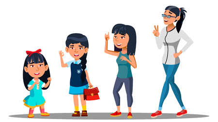 Asiatic Generation Female Set Vector. Mother, Daughter, Granddaughter, Baby Vector Isolated Illustration Vetores