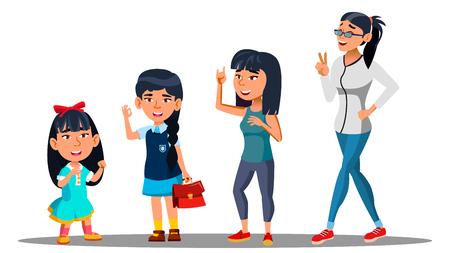 Aziatische generatie vrouwelijke Set Vector. Moeder, Dochter, Kleindochter, Baby Vector Geïsoleerde Illustratie Vector Illustratie