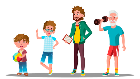 Caucasian Generation Male Vector. Grandfather, Father, Son, Grandson Baby Vector Isolated Illustration  イラスト・ベクター素材