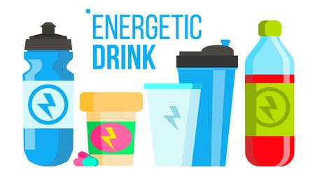 Vector de bebida energética. Icono de energía. Botella, lata deportiva o lata. Ilustración de dibujos animados plano aislado