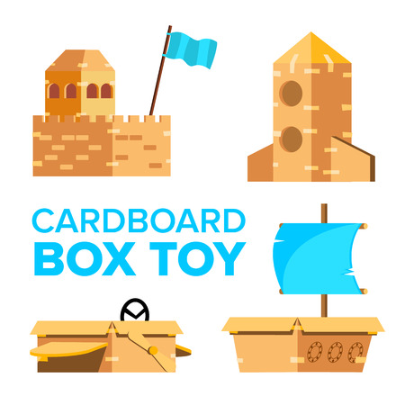 Cardboard Toy Vector. Playground Activity. Box Isolated Flat Cartoon Illustration Ilustração