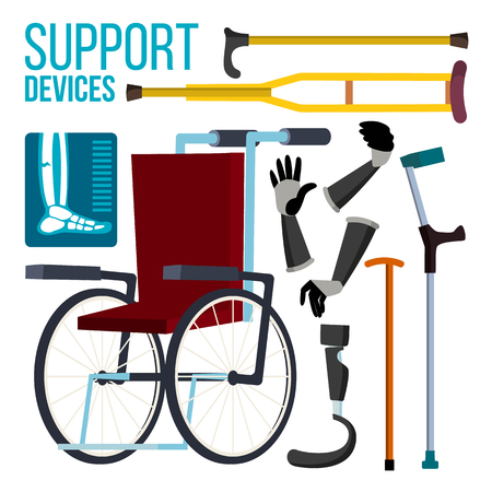 Support Devices Vector. Wheelchair. Amputation Prosthesis. Isolated Flat Cartoon Illustration