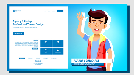 Self Presentation Vector. Asian Male. Introduce Yourself Your Project, Business. Illustration