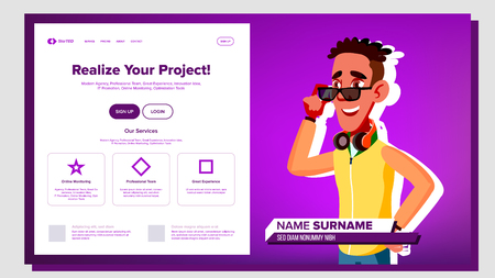 Self Presentation Vector. African American Male. Introduce Yourself Your Project, Business. Illustration