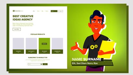 Vettore di presentazione di sé. maschio indiano. Presentati il tuo progetto, business. Illustrazione
