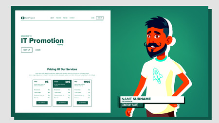 Self Presentation Vector. Arab Male. Introduce Yourself Your Project, Business. Illustration