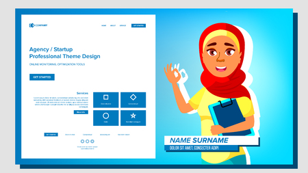 Self Presentation Vector. Arab Female. Introduce Yourself Your Project, Business. Illustration Vettoriali