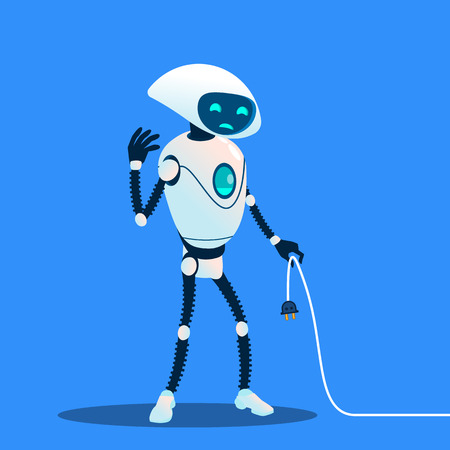 Tired Robot Holding Charging Cord Vector. Lost Connection. Isolated Illustration