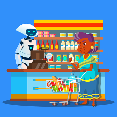 Root Seller In Store With Buyer Near Cashier Vector. Isolated Illustration Vettoriali