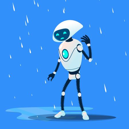 Sad Brocken Robot On Rain Vector. Illustration 일러스트