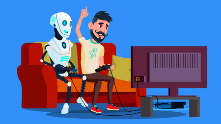 Robot Playing Video Game With Friend Vector. Illustration