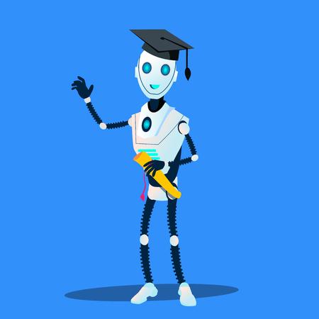 Robot intelligente nel tappo di laureato e diploma nel vettore delle mani. Illustrazione Vettoriali