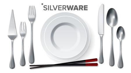 Silverware Set Vector. Silver Metal Knife, Spoon, Fork, Spatula, Chopsticks, Plate. Top View. 3D Realistic Illustration