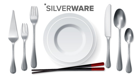 Silverware Set Vector. Silver Metal Knife, Spoon, Fork, Spatula, Chopsticks, Plate. Top View. 3D Realistic Illustration