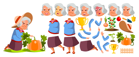 Asian Old Woman Vector. Senior Person Portrait. Elderly People. Aged. Animation Set. Vegetable Garden. Face Emotions, Gestures. Comic Pensioner. Lifestyle Advertising Animated Illustration